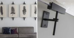 Wall Art Display Ideas – These contemporary industrial metal clamps are an alternative way to display a collection