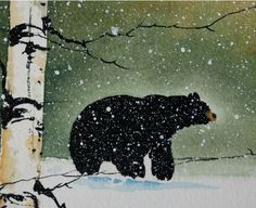 This is an oak water color painting of a black bear in the winter wilderness. I have recently made a variety of the original paintings available here Art And Illustration, Illustrations, Watercolor Trees, Watercolor Paintings, Bear Watercolor, Watercolor Water, Bear Paintings, Wildlife Paintings, Original Paintings