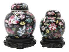 Vintage Petite Black Ginger Jars With Colorful Flowers and Wood Stands - Set of 2 on Chairish.com