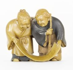 CARVED, STAINED AND LACQUERED IVORY NETSUKE ~ Contemporary. Possibly by Hozan. Signed. ~ Of Kanzan and Jittoku with a broom and scroll.