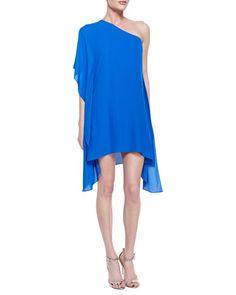 BCBGMAXAZRIA | Alana One-Shoulder Side-Drape Dress - CUSP