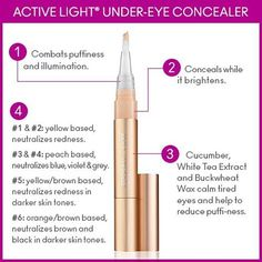 Beauty Tip: Active Light Undereye Concealer is wonderful for camouflaging dark circles and brightening your undereye area. You can also apply it around your nose, lips, brows or any other area that needs highlighting.The brush is designed to fit easily into the recesses around your nose and the inner corner of your eye.