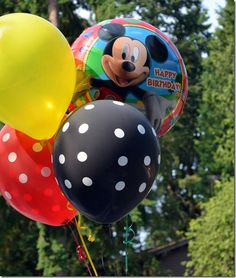 Mickey Mouse Birthday Party - Red, Yellow, Black and Mylar ballons