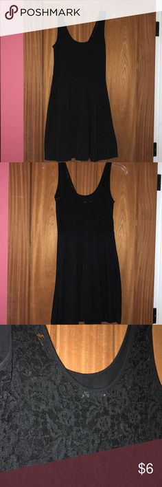 Black skater dress New without tags Black Forever 21 Skater Dress, lace detailing on the back, inch wide straps, size small Forever 21 Dresses