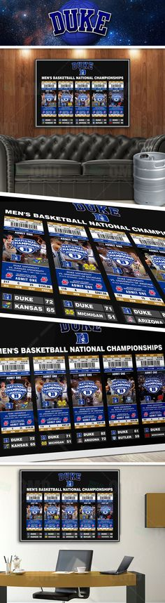All 5 Duke Blue Devils National Championships in detail. 32x23 Poster. Cool memorabilia for any man cave.