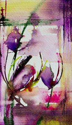 Petit instant N°190 - Peinture, 8x14 cm ©2014 par Véronique Piaser-Moyen - Peinture contemporaine, Papier, Fleur, aquarelle, watercolor, piaser, piaser-moyen, fleurs, fleur, flower, flowers