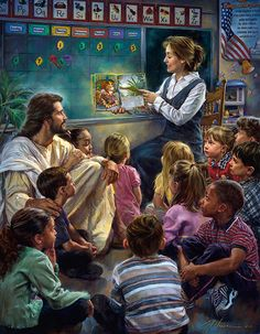 Jesus in the Classroom (I always had my students gather on the floor around me when I read a story or we had a Bible lesson. This is a wonderful picture depicting Jesus joining the children on the floor. I knew He was always in our classroom. Image Jesus, Jesus Pictures, Bible Art, Religious Art, Jesus Loves, Faith, Illustrations, Sandy Hook, Savior