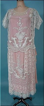 c. 1925 Embroidered Dress with Pink Silk Slip and Pink Chiffon Gauze Sash/Scarf