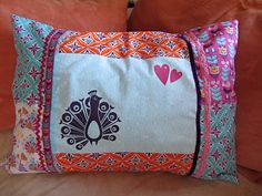 "Lovely cushion made from ""My Aunties"" fabrics"