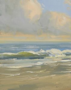 Morning at the Beach: oil painting, seascape, landscape, measuring 10 x 8 inches, by Carolyn Walton
