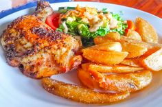 Roasted chicken, salad and  french fries Aguila de Osa Inn Drake Bay, Puntarenas Costa Rica #food #foodie