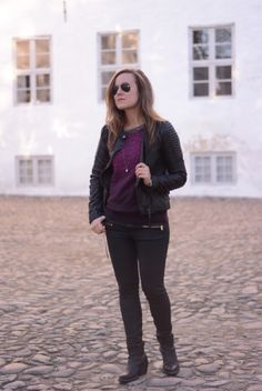 Blogger Emily Salomon wearing knit and jacket by mbyM.