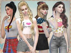 8 crop tops with fun patterns.  Found in TSR Category 'Sims 4 Female Everyday'