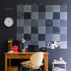 A large chalkboard wall calendar can be updated every day with new to-do's, and every month with new dates!