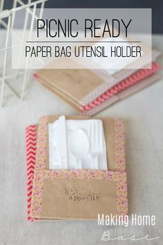 Picnic Ready Paper Bag Utensil Holders - Whip these up to hold utensils and napkins. Best of all, use the paper bag to hold trash at the end.