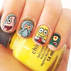 OMGOSH I LOVE THESE!!! I WANT ALL SPONGEBOB ONES!! //// Instagram photo by shahar_attar  #nail #nails #nailart