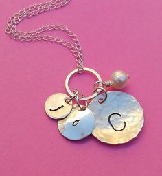 Sterling Silver Three Disc Initial Charm Necklace by SeaSaltShop, $35.00