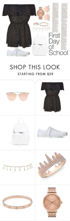 """""""classique"""" by brookemuir ❤ liked on Polyvore featuring Topshop, Mansur Gavriel, Converse, Luv Aj, Anne Sisteron, Cartier and Nixon"""