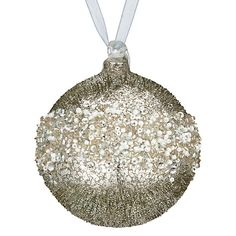 Enchantment Glass Beaded Bauble, Silver || johnlewis.com