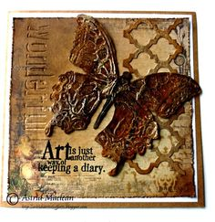 Astrid's Artistic Efforts: Butterfly Birthdays using Tim Holtz, Sizzix and Stamper's Anonymous products; Tim Holtz Dies, Tim Holtz Stamps, Altered Canvas, Altered Art, Card Creator, Butterfly Birthday, Card Sentiments, Butterfly Cards, Card Tags