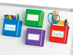 Magnetic Storage Boxes - Set of 4 at Lakeshore Learning