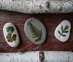 decoupage με φύλλα ζωντανά πάνω σε πέτρα