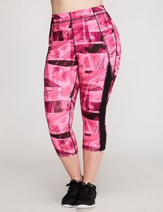 Wicking Spliced Active Capri Legging | Lane Bryant