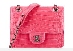 I'm not a pink girl, but this is really fabulous.  Anyone want to buy it for me?  Anyone? | Chanel Alligator and Calfskin Mini Flap Bag | Price Upon Request