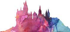 Hogwarts Castle Colourful Silhouette