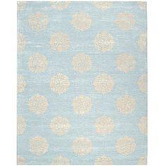 Handmade Soho Medallion Light Blue N. Z. Wool Rug (7'6 x 9'6)