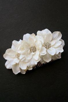 Ivory Wedding Hair Comb Bridal Silk Flower Hair by BelleBlooms