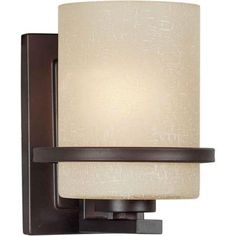 Talista Talista 1-Light Antique Bronze Sconce with Umber Linen Glass-CLI-FRT2404-01-32 - The Home Depot