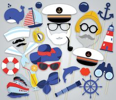 Photo Printable nautico Booth Props marinaio stampabile