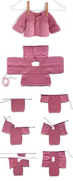 How To Start Knitting, Knitting For Kids, Easy Knitting, Baby Sweater Knitting Pattern, Knitted Baby Cardigan, Pink Lady, Cardigan Bebe, Jacket Pattern, Cardigan Pattern