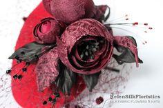 Red mini hat felt fascinator OOAK burgundy by HelenSilkFloristics, $138.00