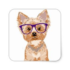 Yorkie Wearing Glasses Square Sticker - dog puppy dogs doggy pup hound love pet best friend