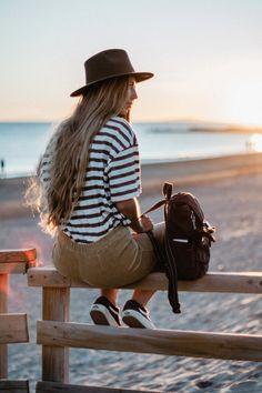 follow @morganewaquez on instagram, look kipling sac à dos bag sunset golden hour ocean lover sea plage Montpellier Carnon long hair chapeau california californie california girl brandy girl brandy melville uniqlo look fashion