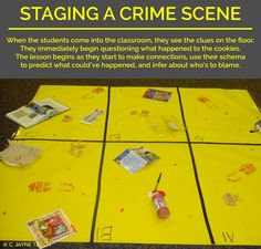 A mystery that tests the students' inference skills! If I ever get back to upper levels  Also could set scenes and have teams describe them to each other in tl