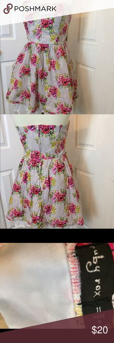 Ruby Rox strapless sun dress Fun floral pattern! It is true to size vertical pinstripe underneath flowers Ruby Rox Dresses Strapless