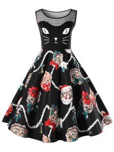 172d2b82a2fb Gamiss Plus Size Christmas Kitten Swing Dress Women Party Robe Femme Vintage  Elegant O neck Sleeveless Midi Vestido De Festa