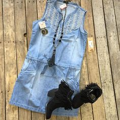 """In LOVE with this dress!  #Denim #Dress $32.99 S-XL #NotRated #Ayita #Booties $64.99 6-7.5, 9&9.5 #PinkPanache #Necklace $76.99 & #Earrings $39.99 We #ship! Call to order! 903.322.4316 #shopdcs #instashop #shoplocal #love #fringe"" Photo taken by @daviscountrystore on Instagram, pinned via the InstaPin iOS App! http://www.instapinapp.com (09/10/2015)"