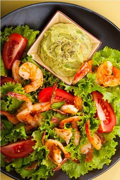 Grilled-Prawn-Salad-with-Tomatoes-and-Avocado-Aioli. Go to Sauces, Dips for recipe for Avocado Aioli. Avocado Recipes, Salad Recipes, Prawn Salad, Grilled Prawns, Slow Roasted Tomatoes, Eating Vegetables, Soup And Salad, Mexican Food Recipes, Meals