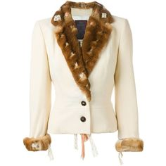 John Galliano Vintage Orylag fur trim jacket (19 275 UAH) ❤ liked on Polyvore featuring outerwear, jackets, ivory, john galliano, long sleeve jacket, cream jacket, fur trim jacket and white fur jacket