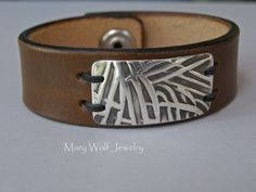 Leather Cuff with Handcrafted Fine Silver Leather by mwolfdesigns, $85.00