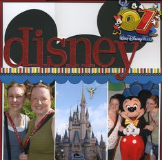 Another great quick & easy layout...three 4x6 photos, a couple of paper strips (one scalloped), Mickey Mouse ears, title and embellishment.  Could easily spread over 2-pages.