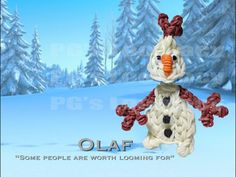 Rainbow Loom OLAF the Snowman. Designed and loomed by PG's Loomacy. Click photo for YouTube tutorial. 03/26/14