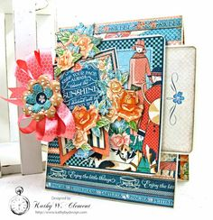 Keep Your Face Toward the Sunshine Card by Kathy Clement for Really Reasonable Ribbon #graphic45 #cafeparisian #cards