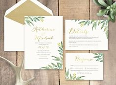 Greenery with Gold Foil Wedding Invitation.