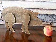 Primitive Pig Piggy Piglet Rustic Wooden by YourGreatestStory