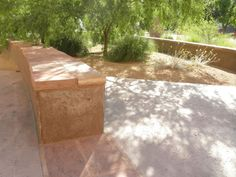 Sandstone bands, relating seat wall into rock salt finish concrete (UNLV Science and Engineering Building, Las Vegas NV - designed by me while at Dekker/Perich/Sabatini)